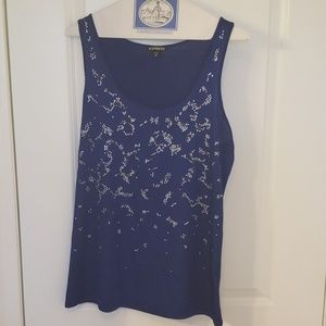 EXPRESS mixed media bedazzled tank